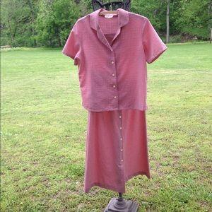 Talbots's red gingham skirt set